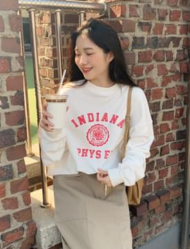 Indiana lettering sweat shirt 長袖上衣