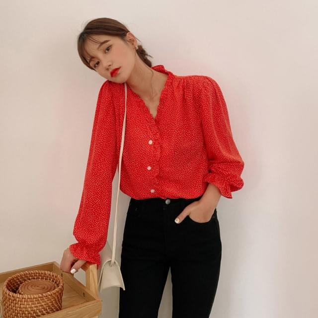 Lovely heart pattern frill blouse