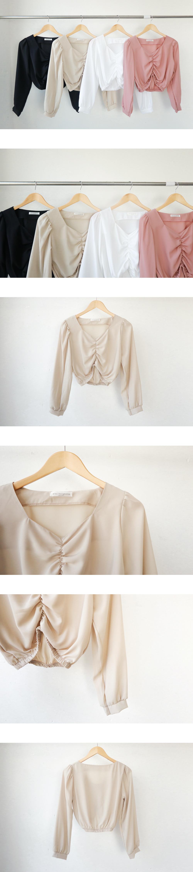 Ashley Shirring crop blouse