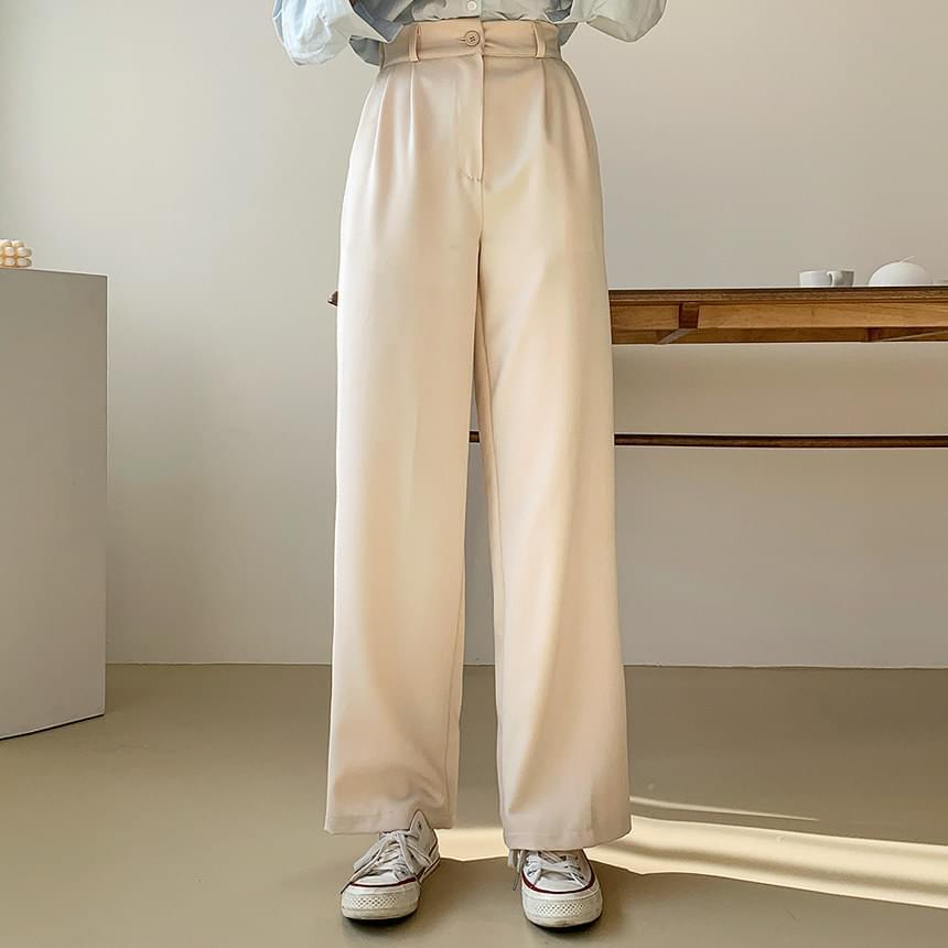 後鬆緊壓褶高腰西裝寬褲(4色)