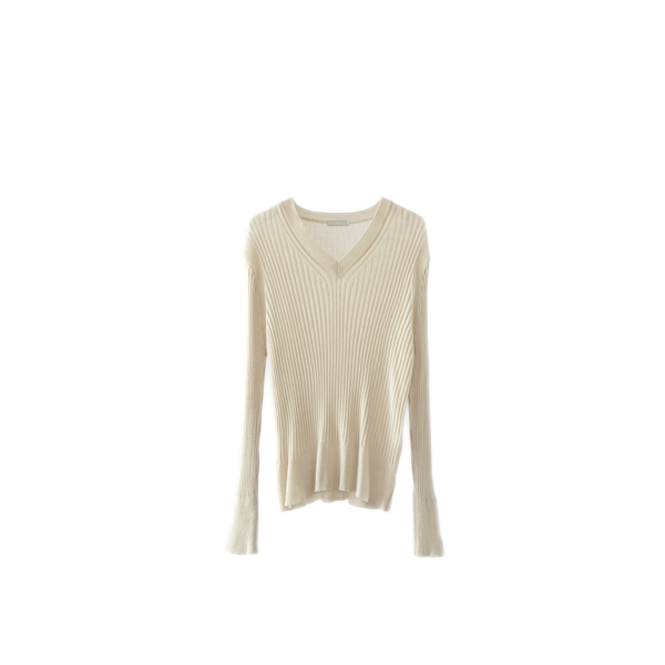 vertical line V-neck knit