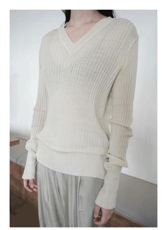 vertical line V-neck knit (3colors)