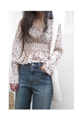 banding floral blouse (2colors)
