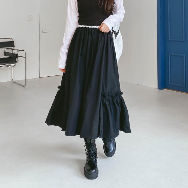 Ruffle-free long skirt スカート