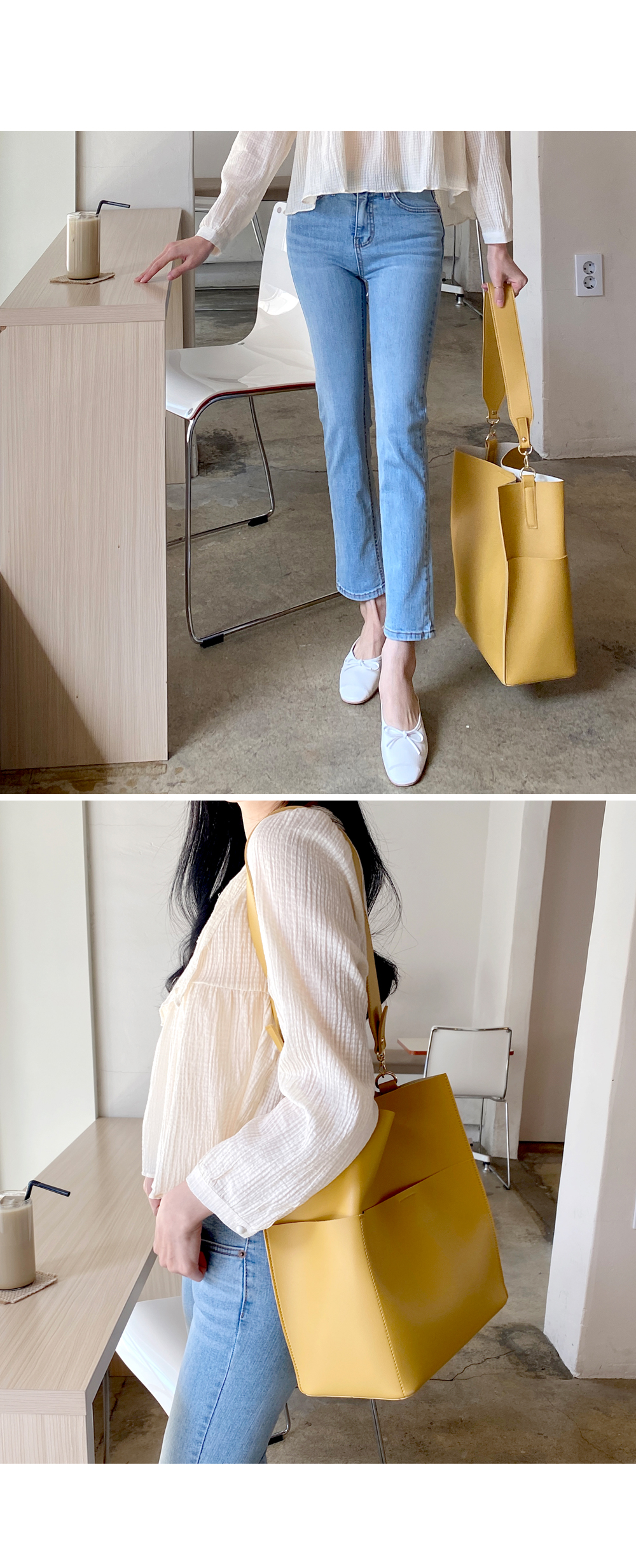 Light step straight denim pants