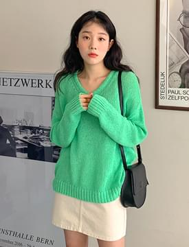 Net V Neck Loose Fit Knit 針織衫