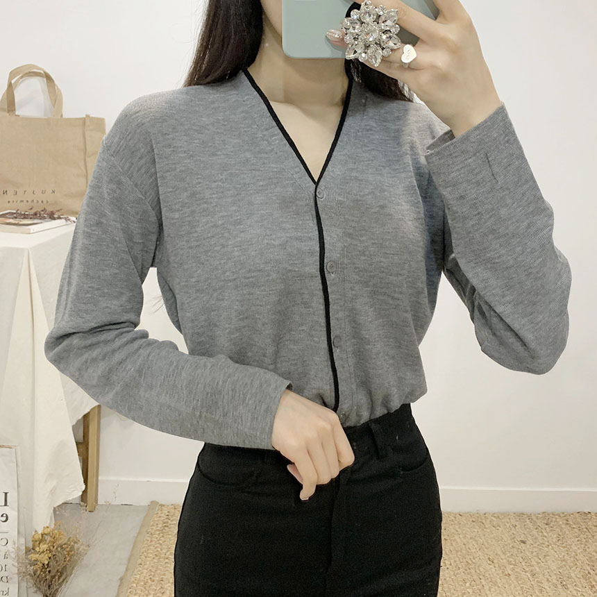 Decay Color V Neck Long Sleeve Cardigan