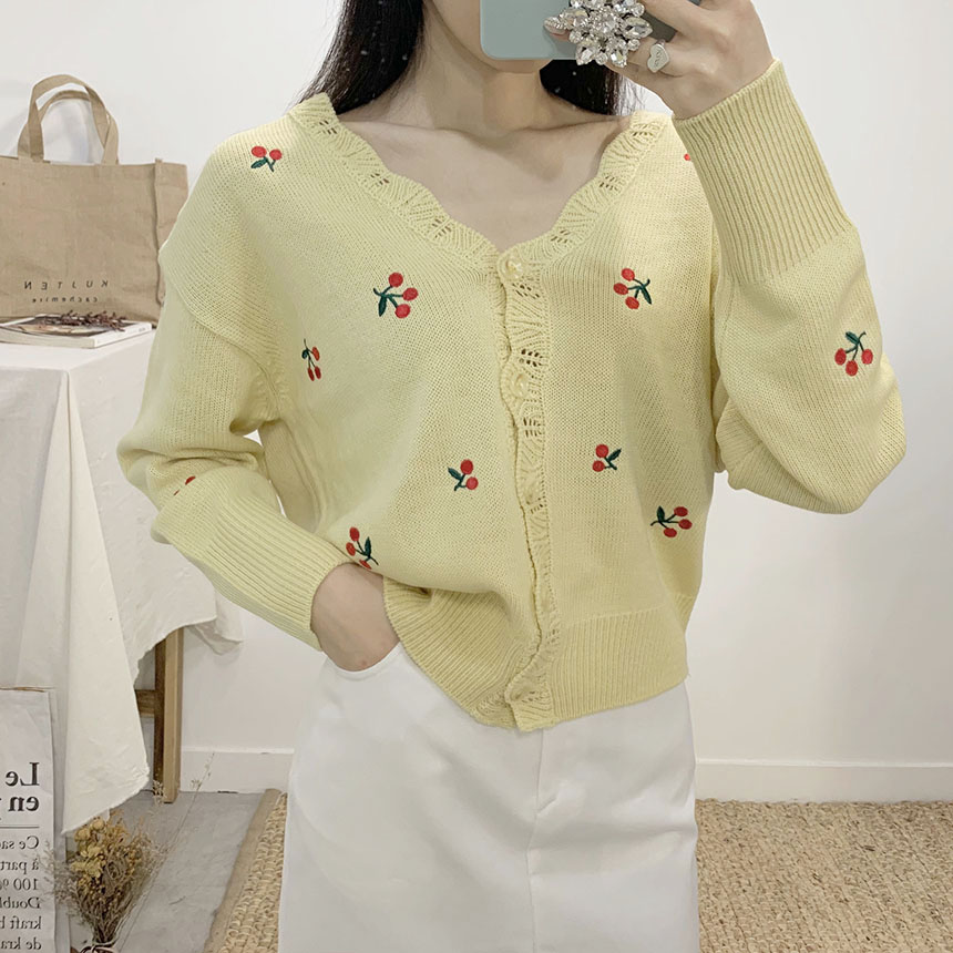 Label cherry embroidered V-neck long sleeve cardigan