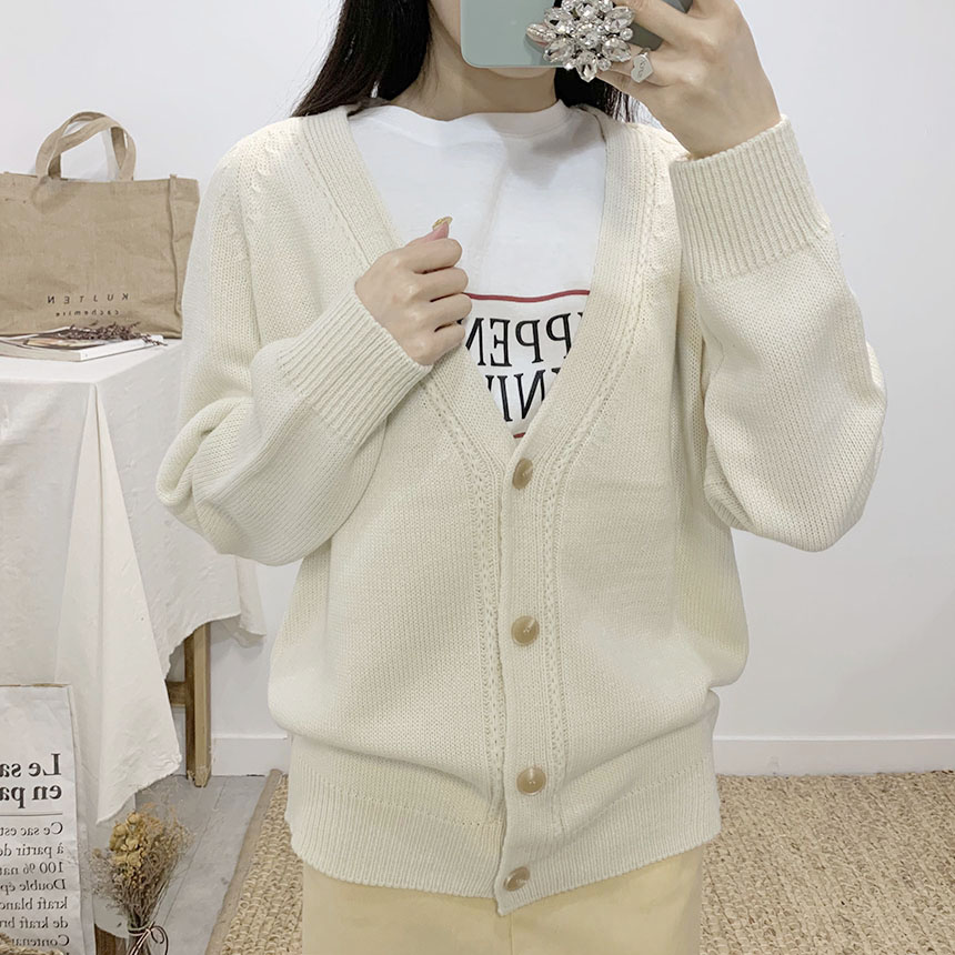 Preview V-neck long sleeve knit cardigan
