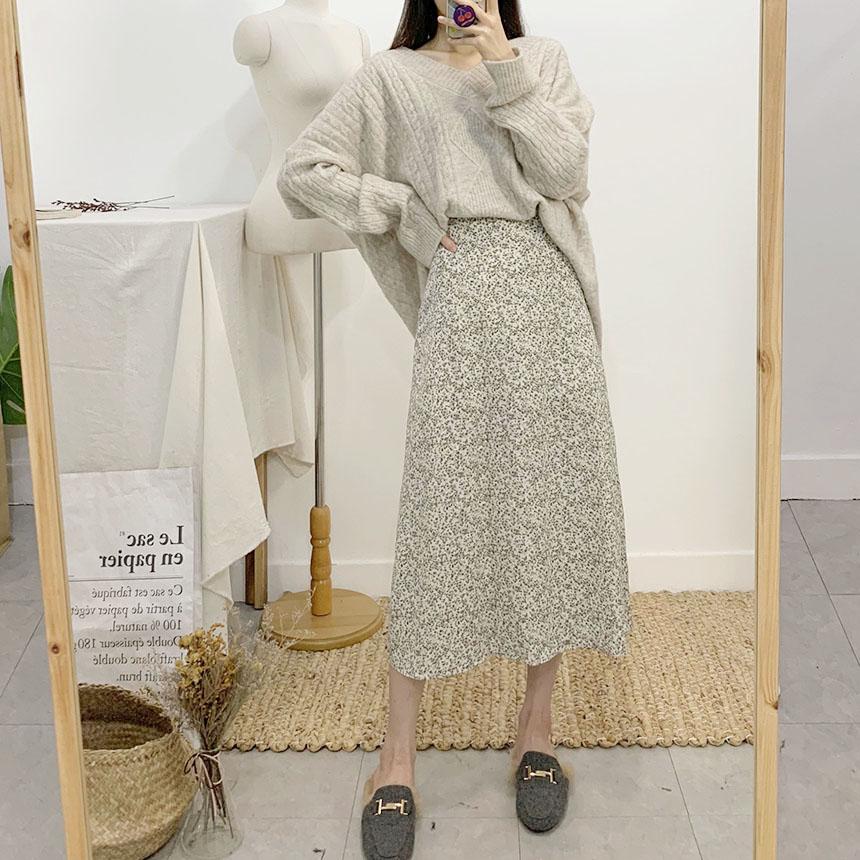 Mebi Flower Flare Long Skirt 2colors
