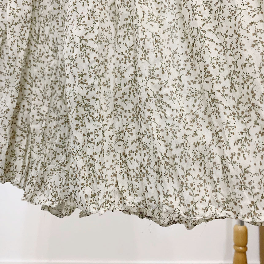 Remy Flower Pleated Long Skirt 3colors