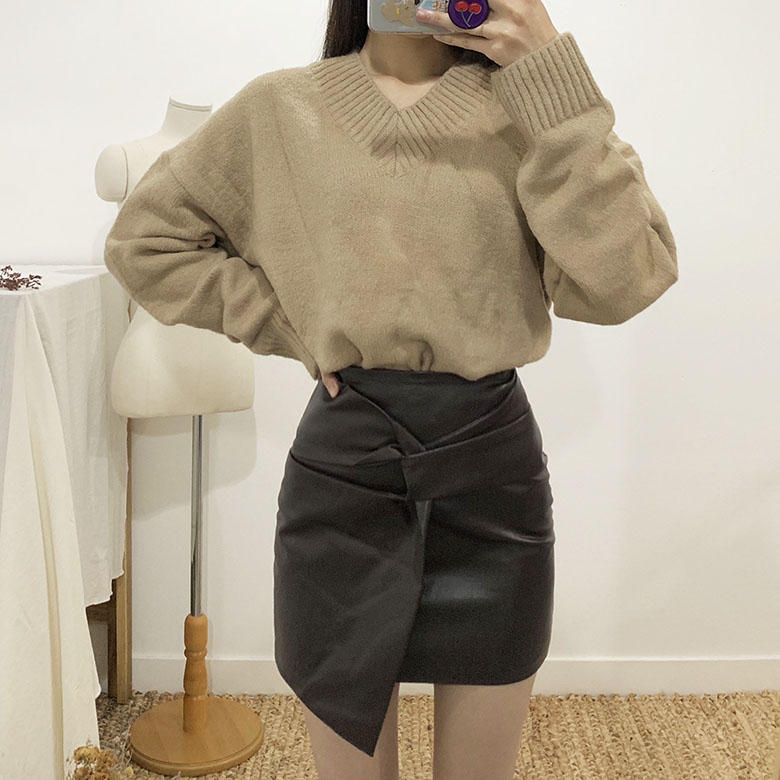 Felix twisted leather mini skirt