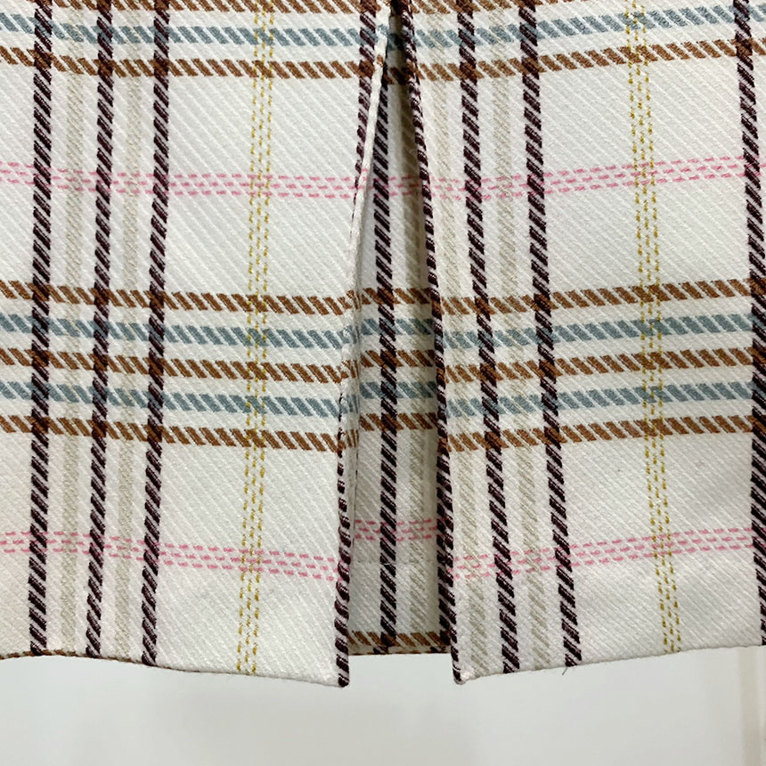 Wester pin-tuck check mini skirt