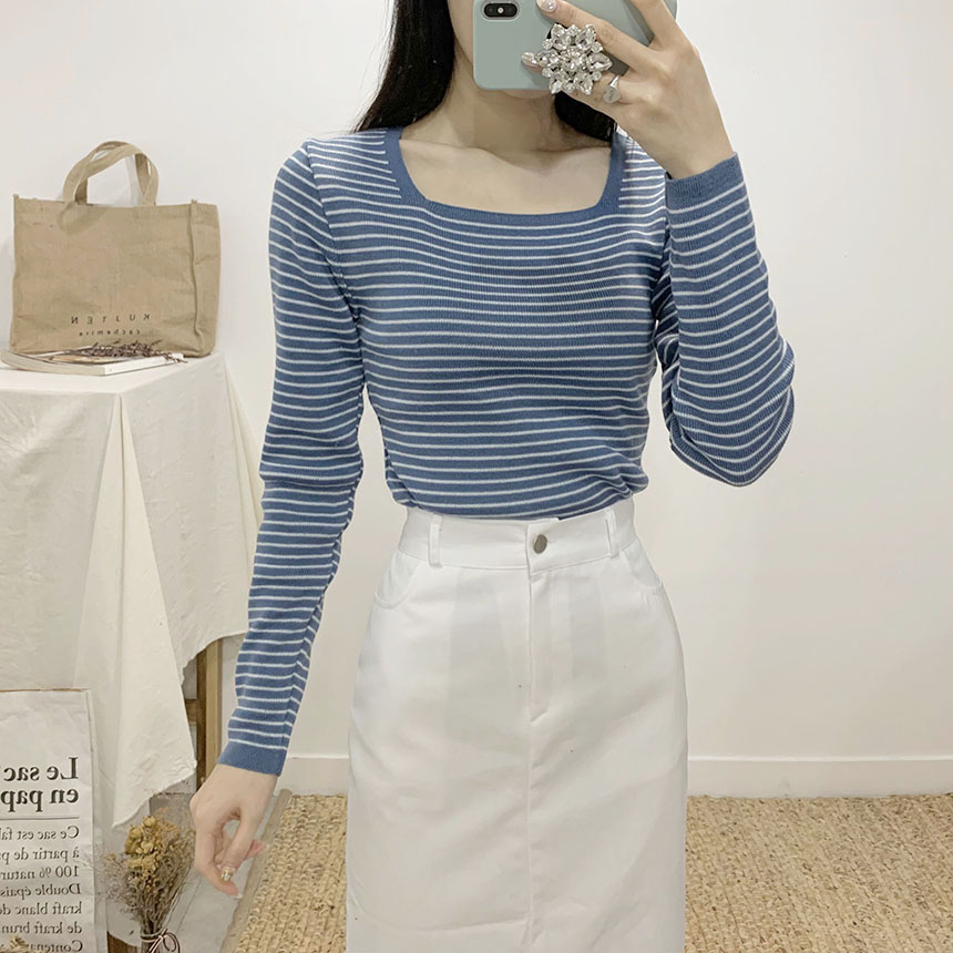 Brow Striped Square Neck Long Sleeve Knit