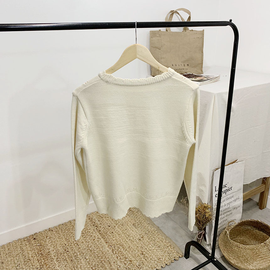 Nateri Wavy Scary Round Neck Long Sleeve Knit