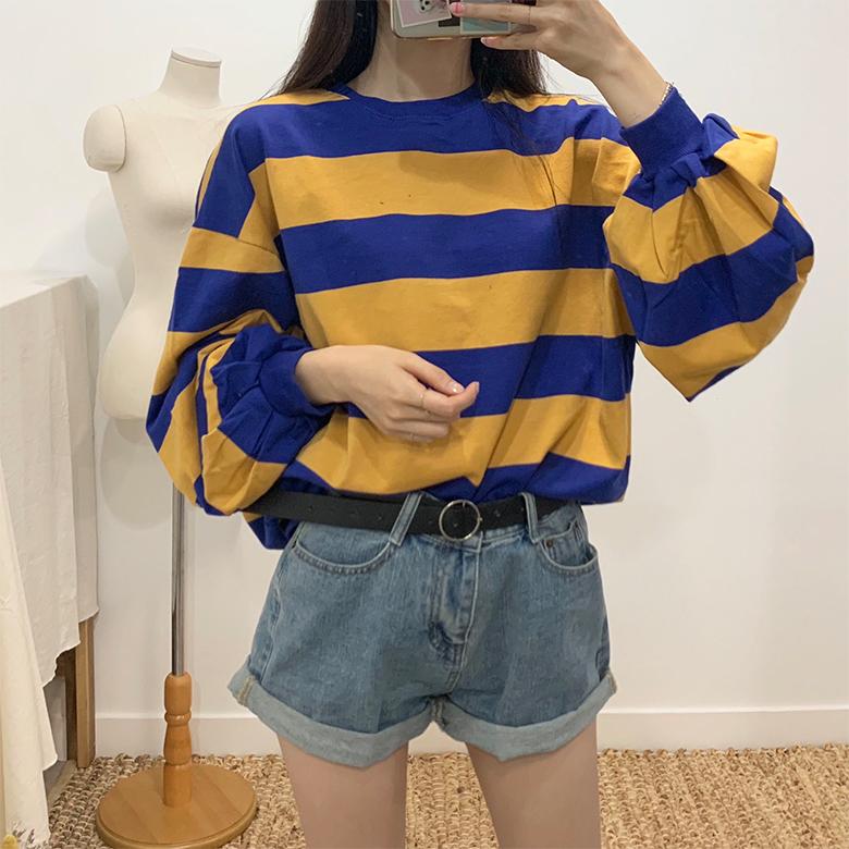 Rainbow stripe round sweat shirt