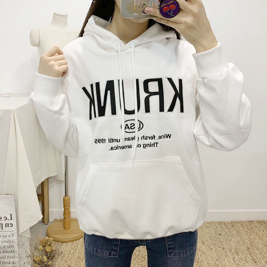 Krunk lettering hooded t-shirt