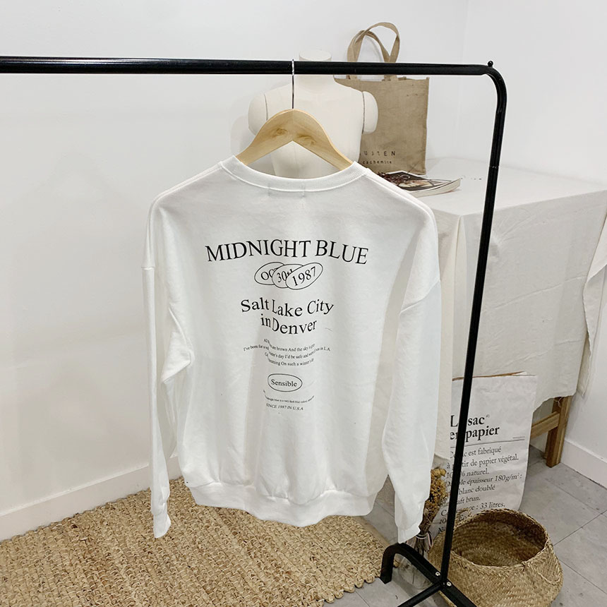 Midnight lettering round neck sweat shirt