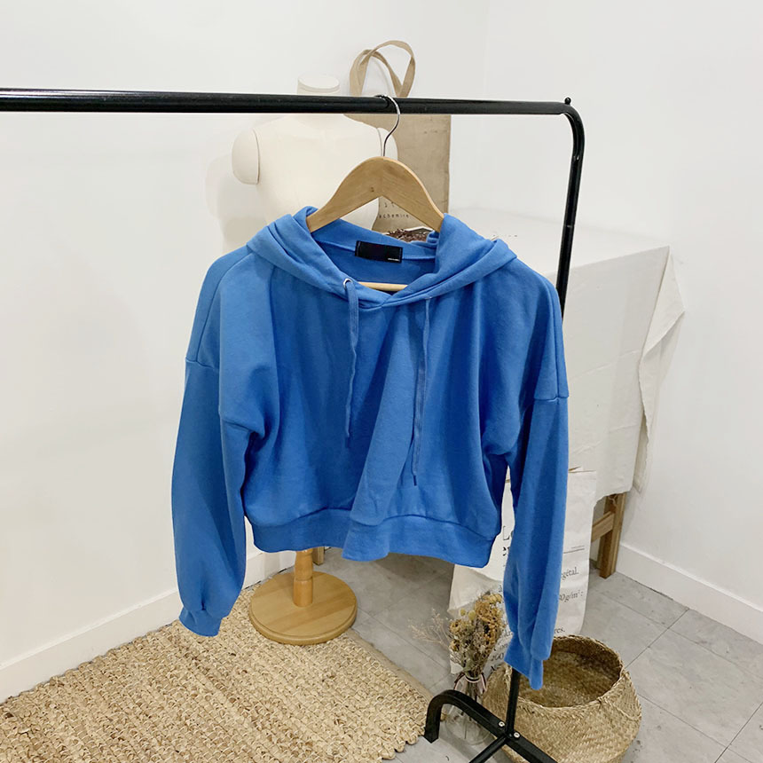 Elberet plain color cropped hooded T-shirt