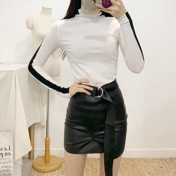 Seartle leather unfoot belted mini skirt