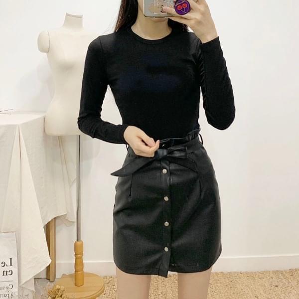 Tulle ribbon leather mini skirt