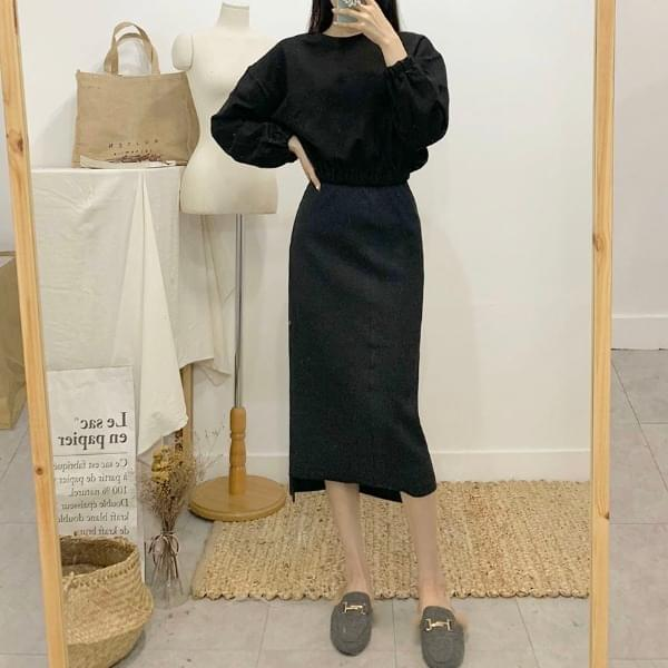 Velcro uneven ribbed long skirt