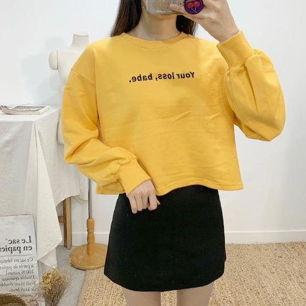 Bebe lettering round neck cropped sweat shirt