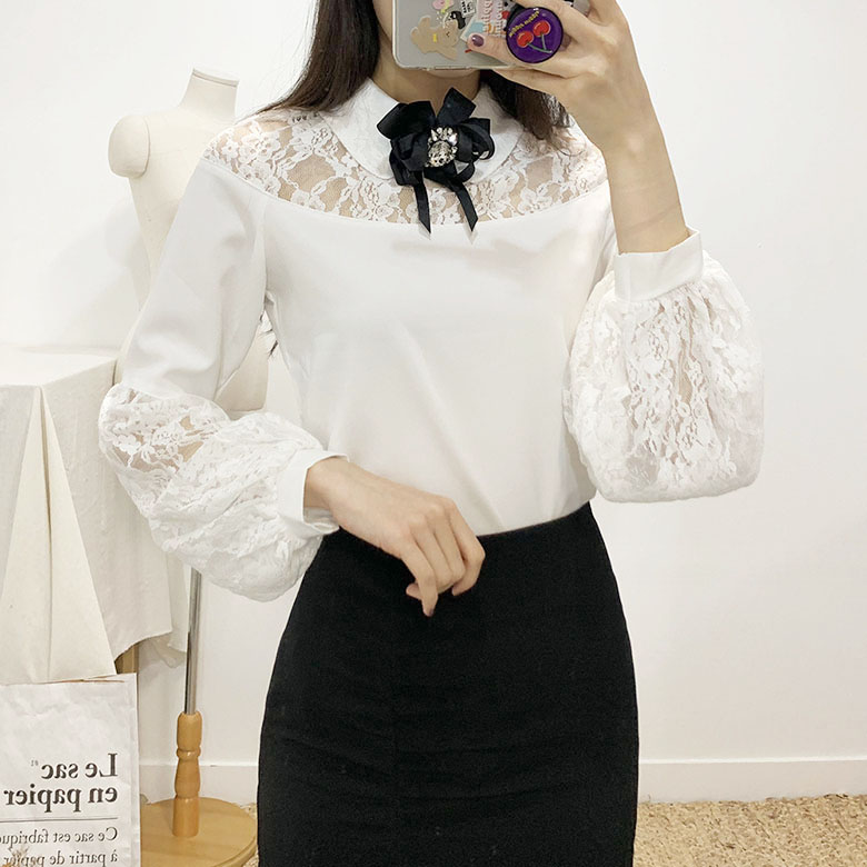 The Bell Lace Brooch Blouse