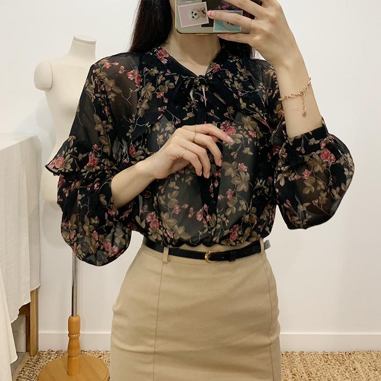 Balming see-through flower blouse