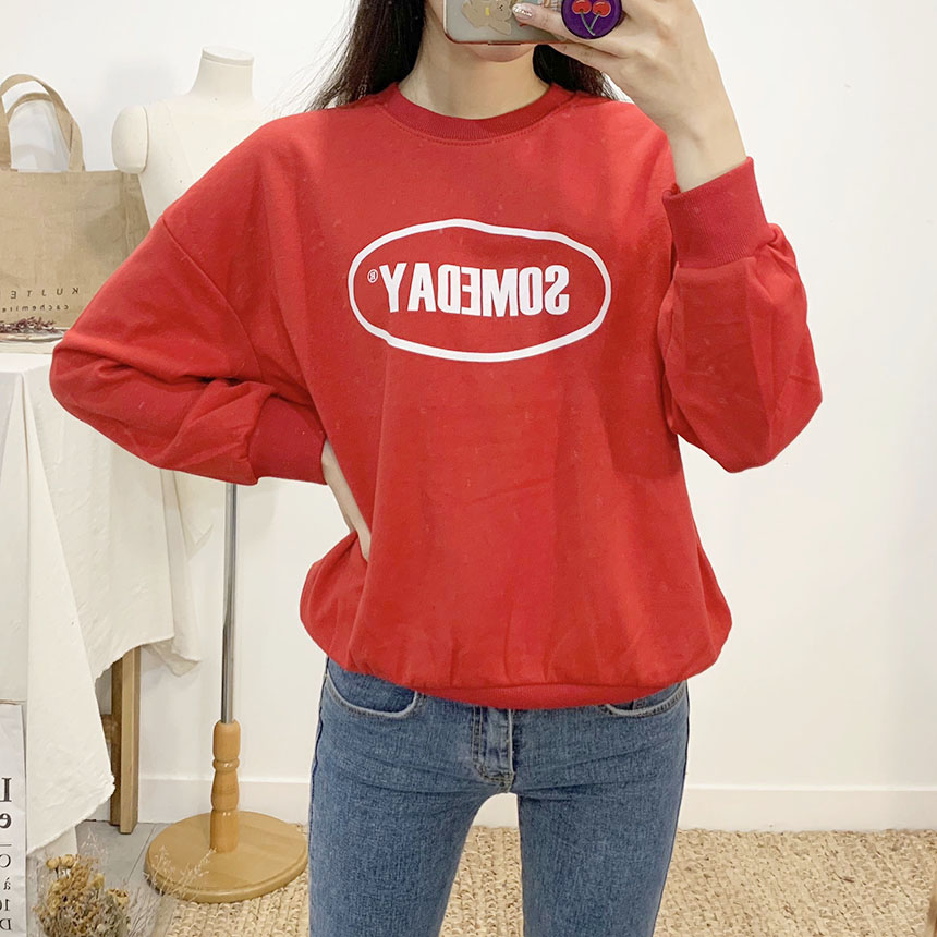 Someday lettering round neck sweat shirt