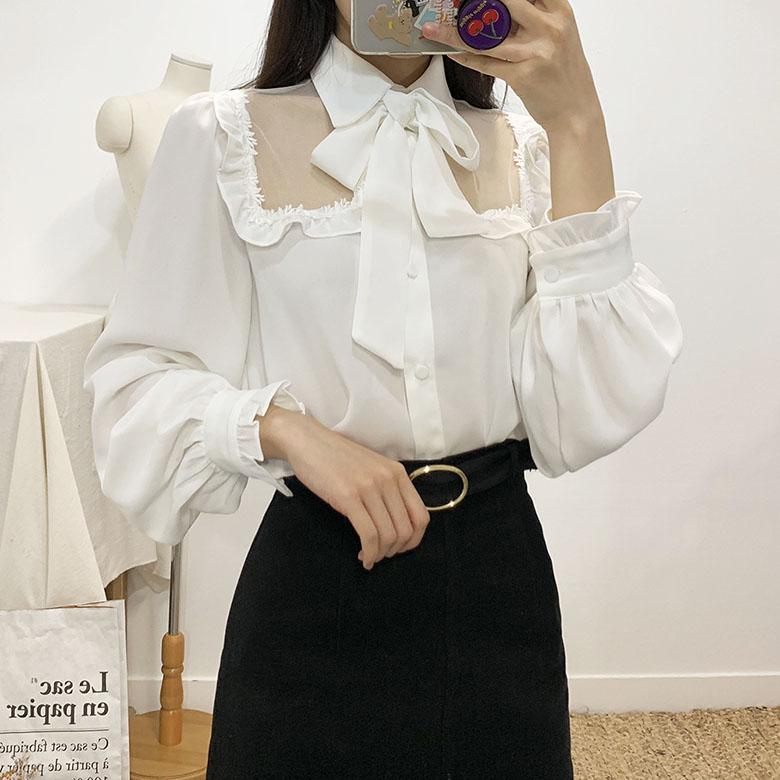 Kiddy ribbon see-through blouse