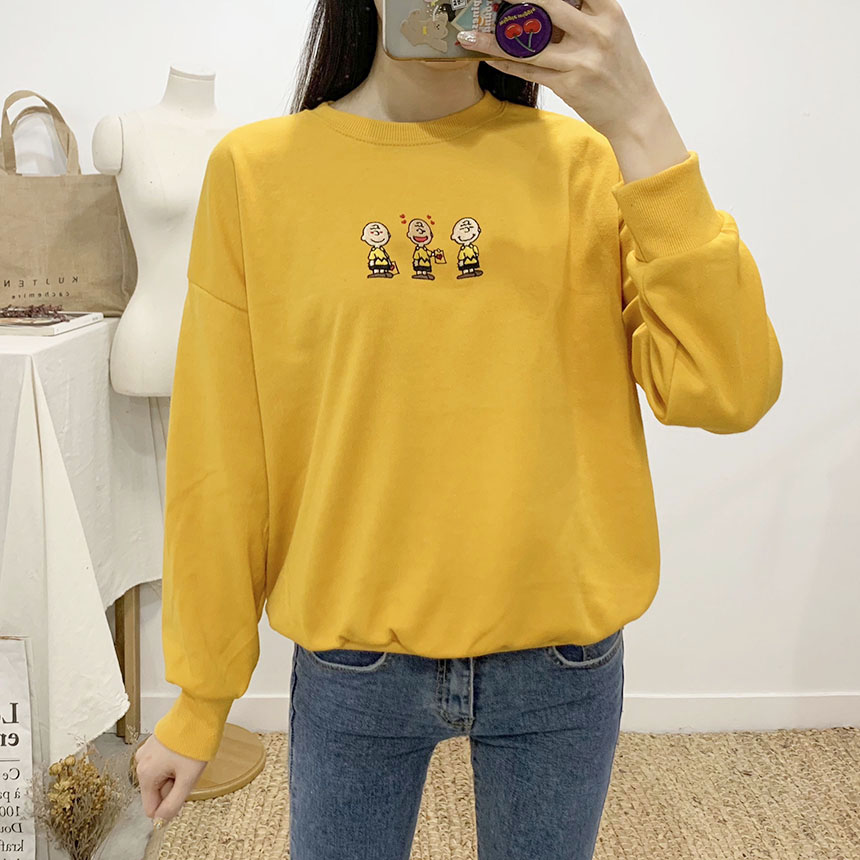 Charlie Letter Color Embroidery Round Neck sweat shirt