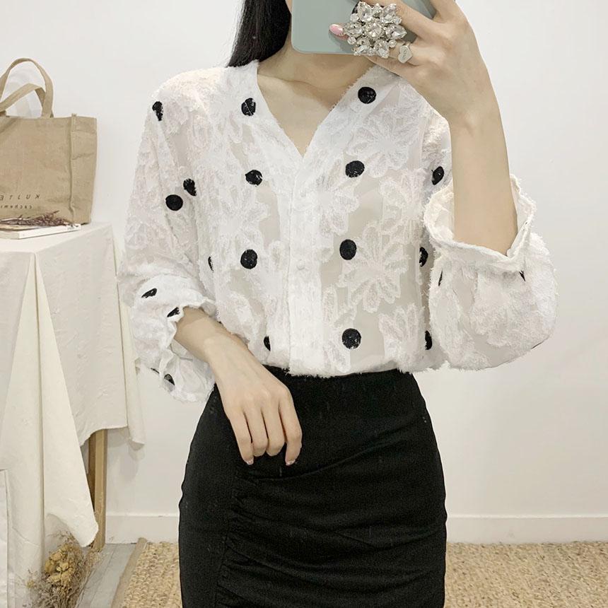 Kelly dot flower blouse