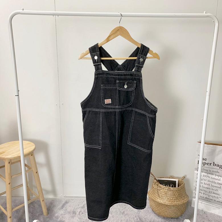 Avant midi blue suspenders dress