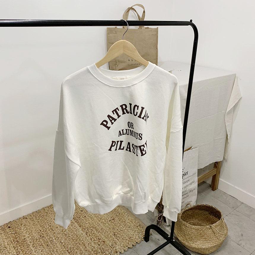 Pillar lettering round neck sweat shirt