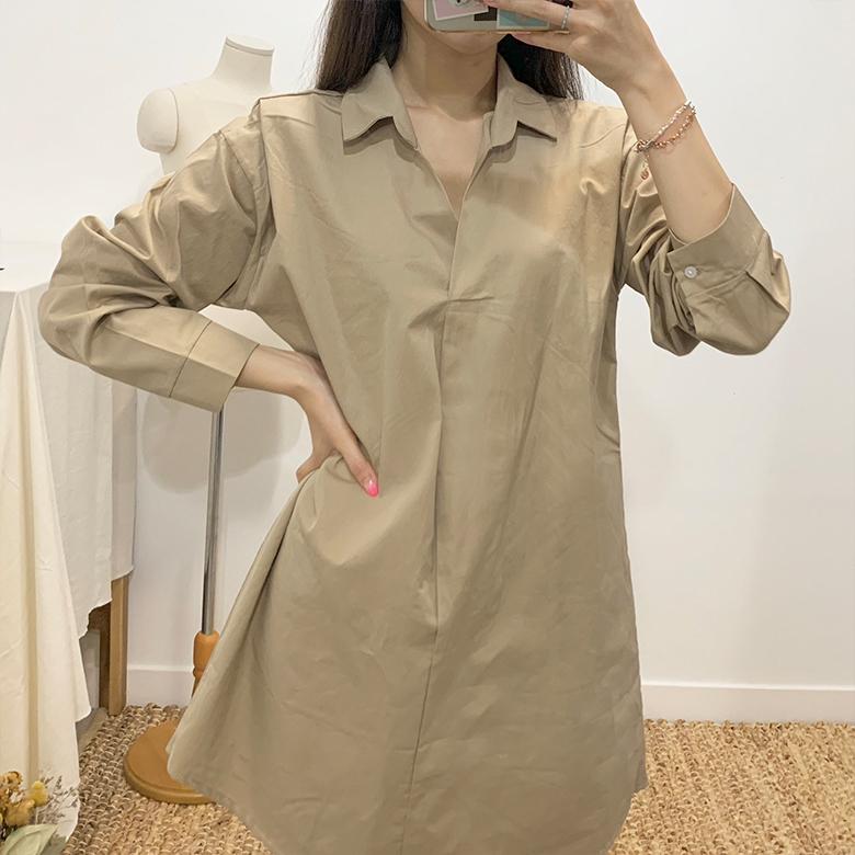 Cassia Basic Long Shirt Dress