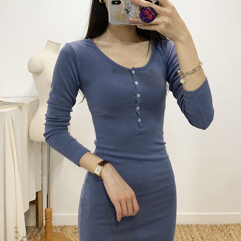 Holic Button U-neck Long Sleeve Mini Dress