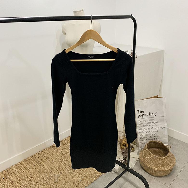 Peach Square Neck Long Sleeve Mini Dress