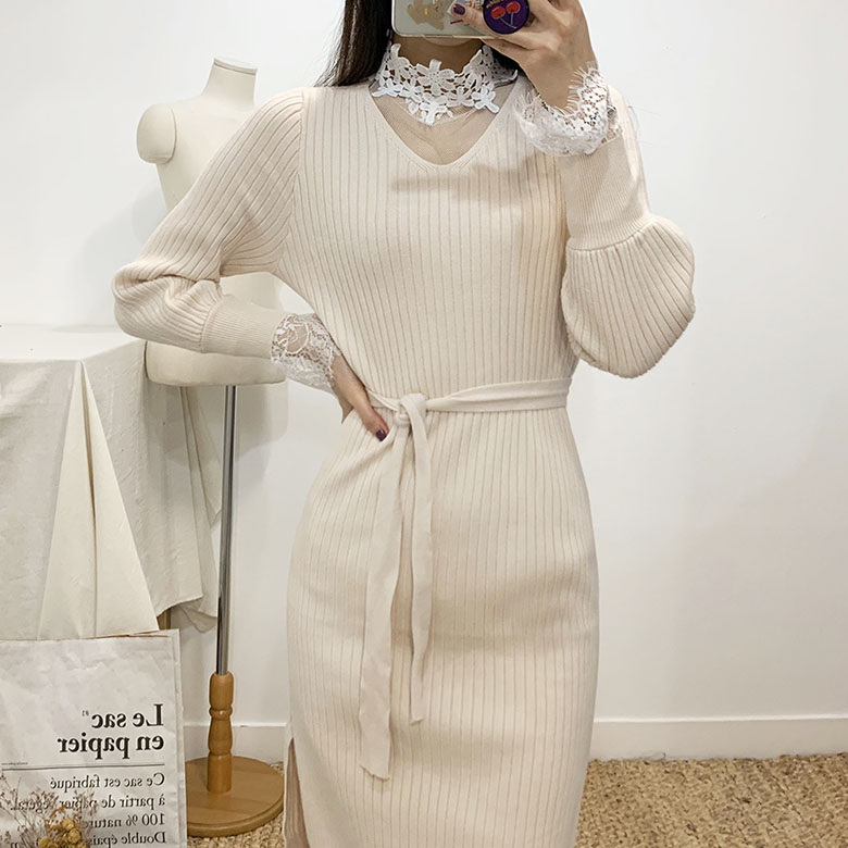 Cloby lace knit dress SET