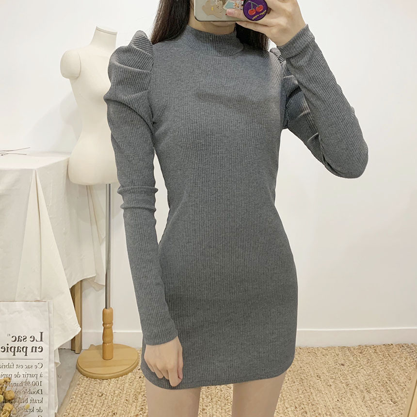 Elia Shirring Ribbed Mini Dress 2colors