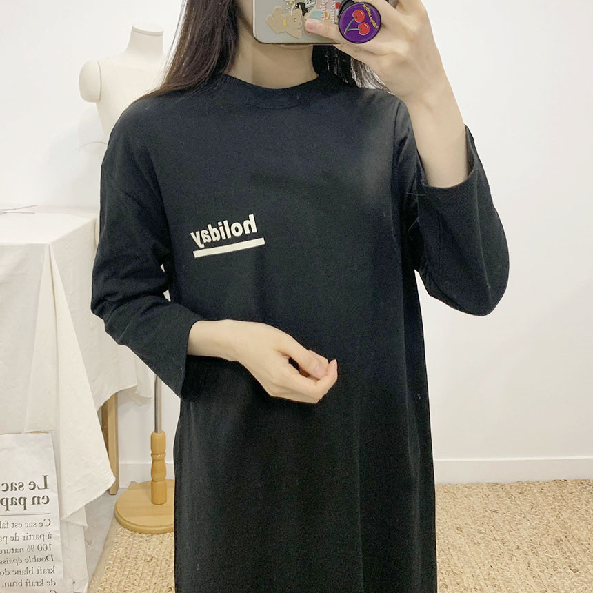 Holiday Lettering Long T-Shirt Dress 4colors