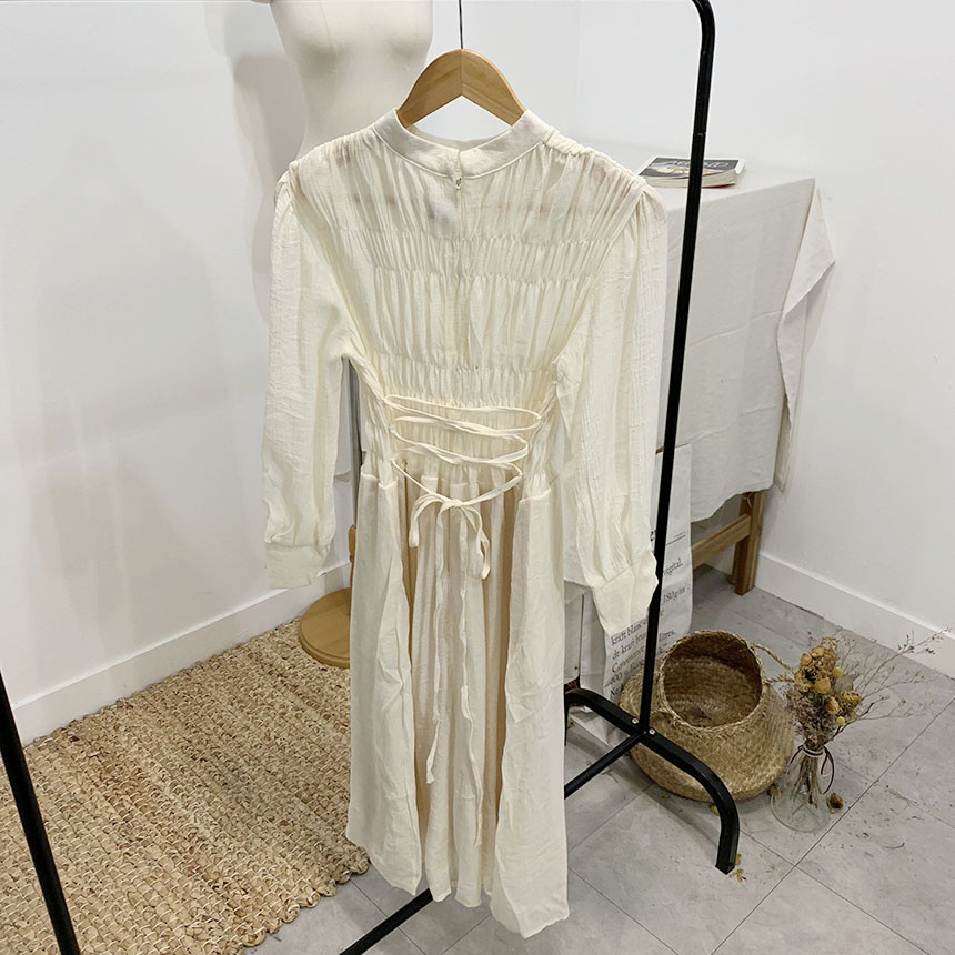 Celery Shirring Flare Long Dress 2colors
