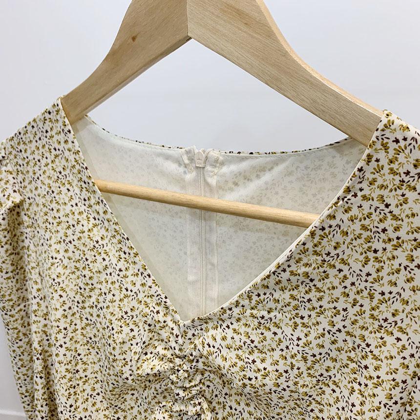 Le Roussing Flower Pleats Long Dress 3colors