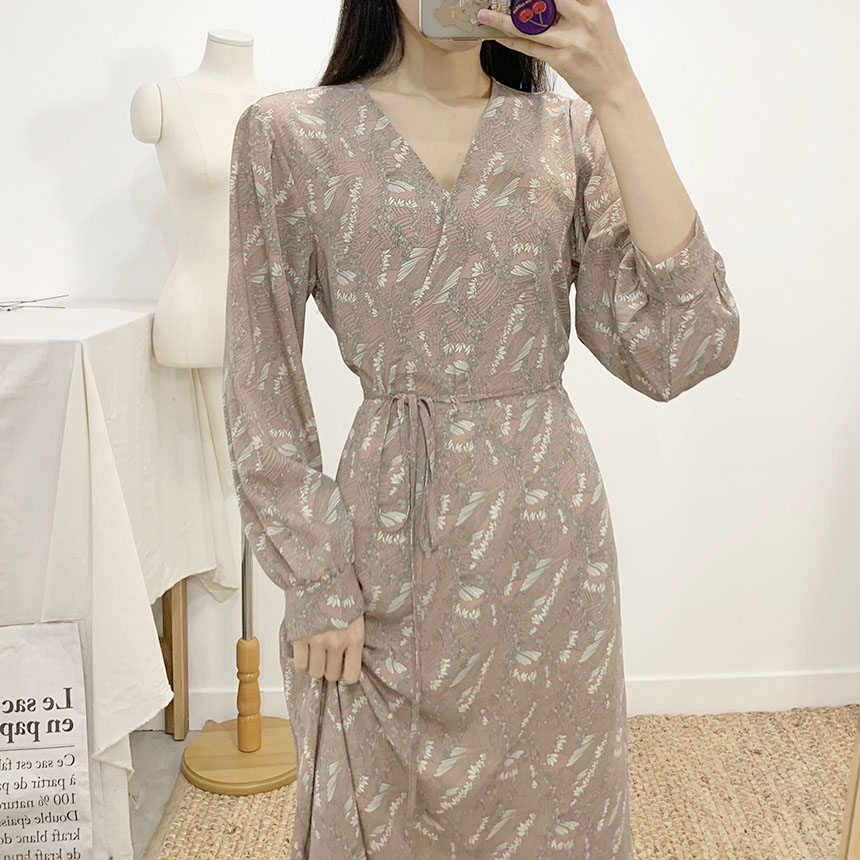 Tristy V Neck Wrap Flare Long Dress