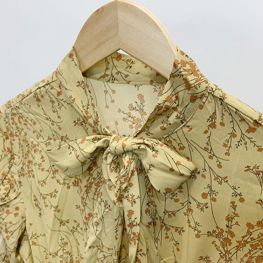 Lona frill flower tie long dress