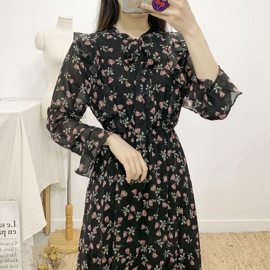Pros frill flower tie long dress
