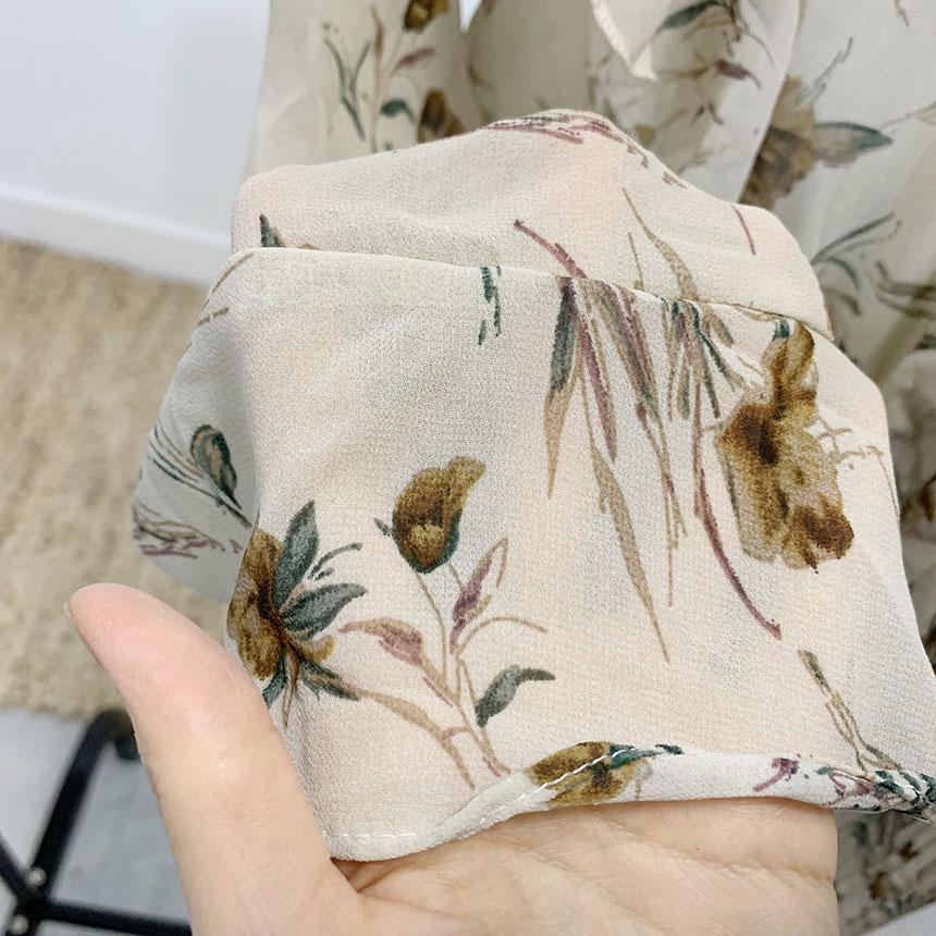 Berber flower pleated tie long dress