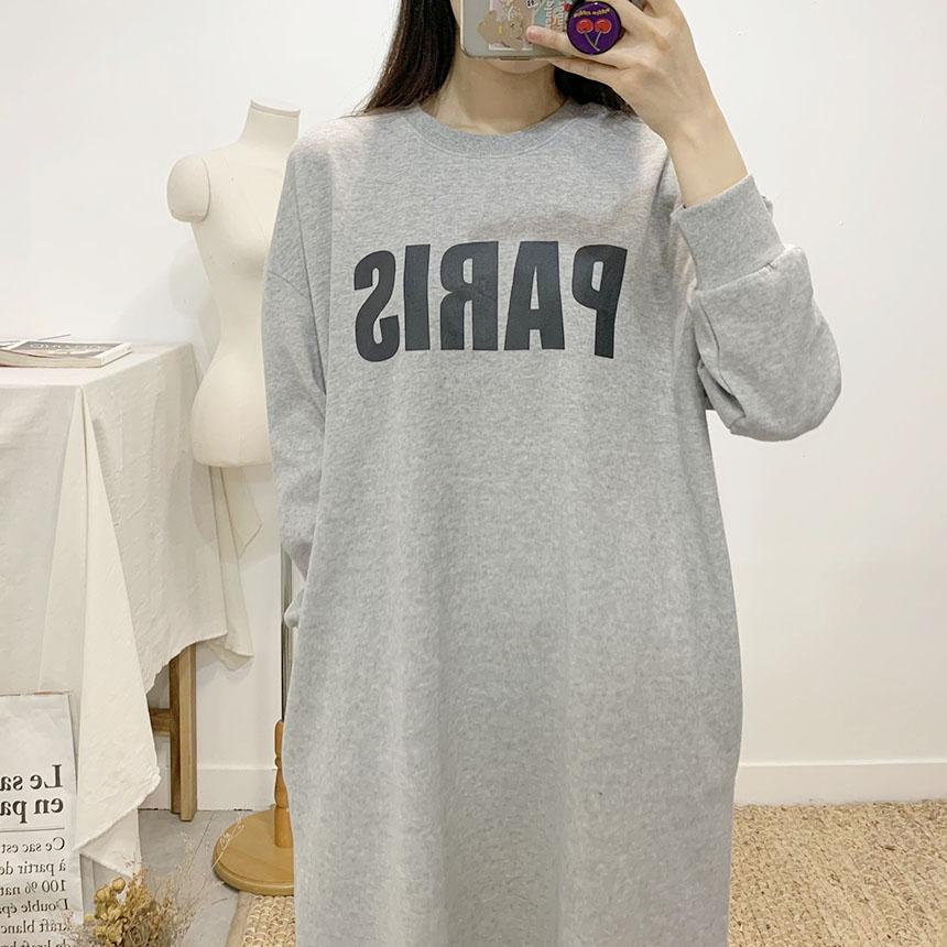Paris lettering round neck mini dress