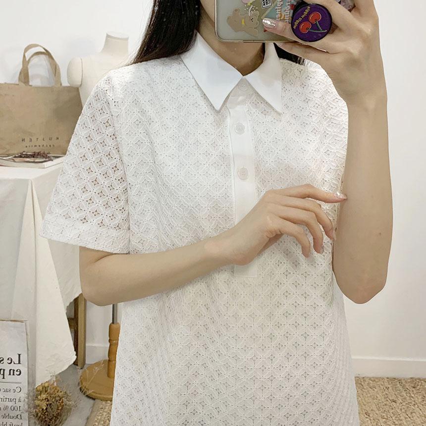Purey lace collar mini dress