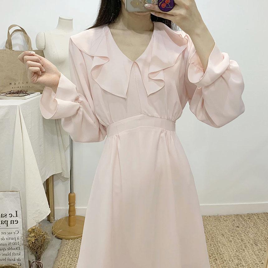 Lux V-neck frill chiffon mini dress